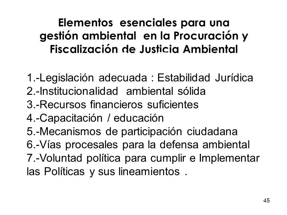 45 Elementos esenciales para una gestión ambiental en la Procuración y Fiscalización de Justicia Ambiental 1.-Legislación adecuada : Estabilidad Juríd