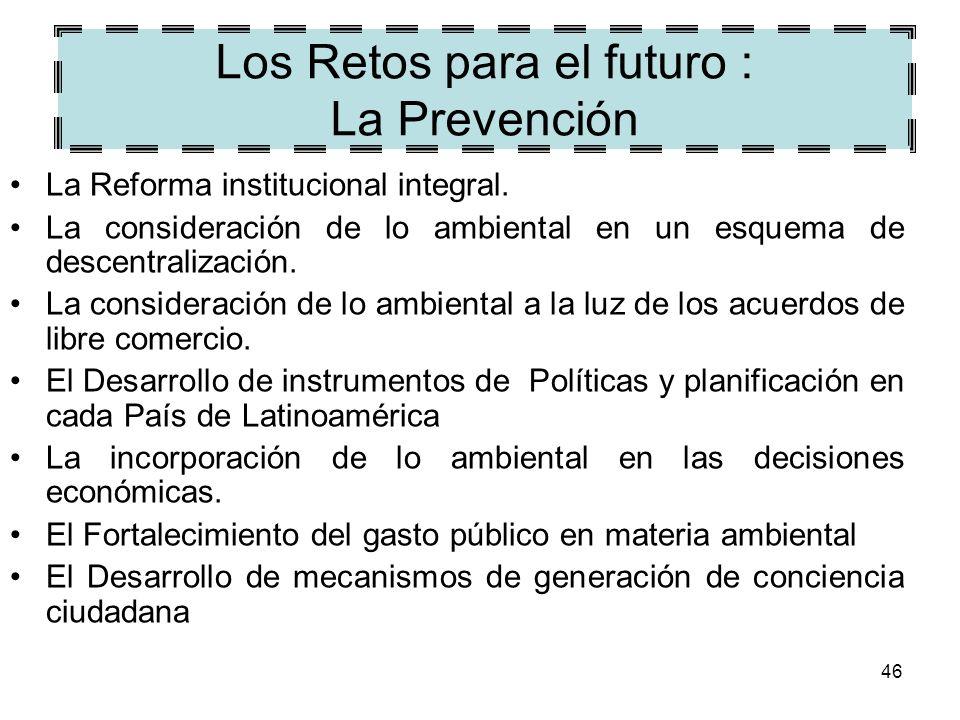 46 Los Retos para el futuro : La Prevención La Reforma institucional integral. La consideración de lo ambiental en un esquema de descentralización. La