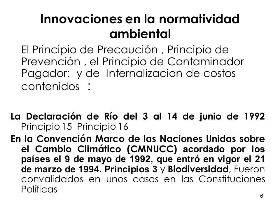 6 Innovaciones en la normatividad ambiental El Principio de Precaución, Principio de Prevención, el Principio de Contaminador Pagador: y de Internaliz