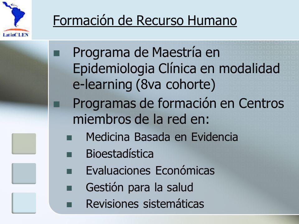 Formación de Recurso Humano Programa de Maestría en Epidemiologia Clínica en modalidad e-learning (8va cohorte) Programas de formación en Centros miembros de la red en: Medicina Basada en Evidencia Bioestadística Evaluaciones Económicas Gestión para la salud Revisiones sistemáticas