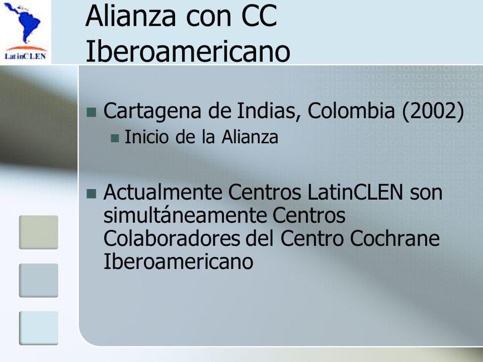 Alianza con CC Iberoamericano Cartagena de Indias, Colombia (2002) Inicio de la Alianza Actualmente Centros LatinCLEN son simultáneamente Centros Colaboradores del Centro Cochrane Iberoamericano
