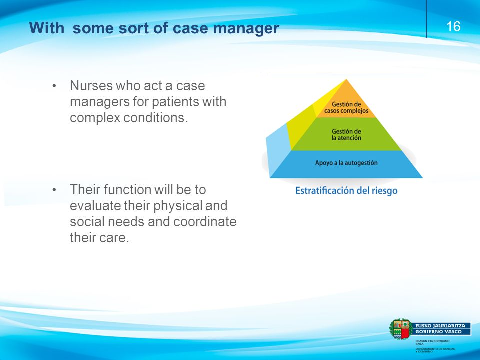 16 With some sort of case manager Nurses who act a case managers for patients with complex conditions.