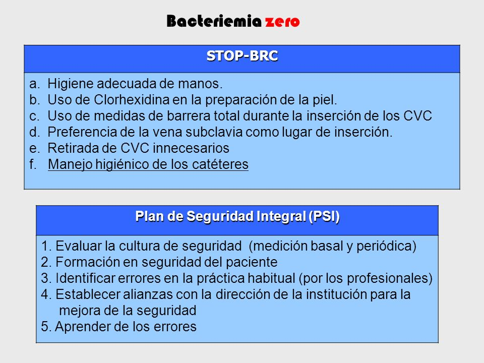 Plan de Seguridad Integral (PSI) 1. Evaluar la cultura de seguridad (medición basal y periódica) 2. Formación en seguridad del paciente 3. Identificar