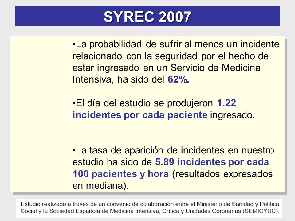 SYREC 2007 La probabilidad de sufrir al menos un incidente relacionado con la seguridad por el hecho de estar ingresado en un Servicio de Medicina Intensiva, ha sido del 62%.