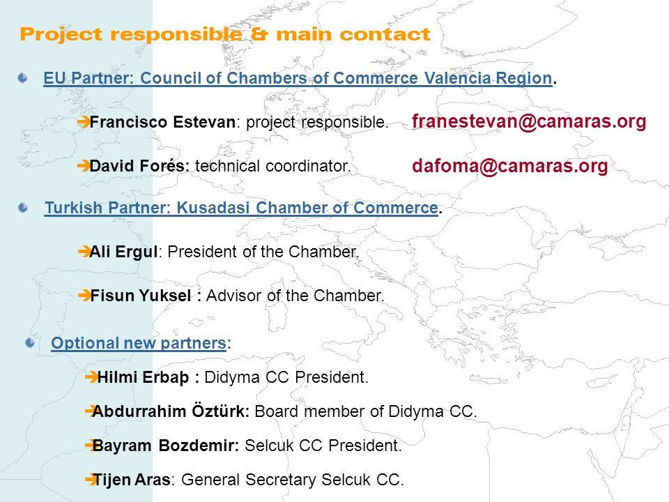 Project responsible & main contact EU Partner: Council of Chambers of Commerce Valencia Region. Francisco Estevan: project responsible. David Forés: t