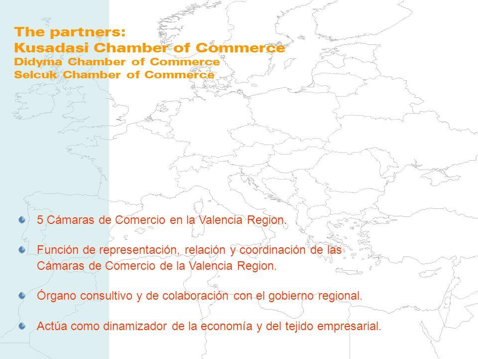 The partners: Kusadasi Chamber of Commerce Didyma Chamber of Commerce Selcuk Chamber of Commerce 5 Cámaras de Comercio en la Valencia Region. Función