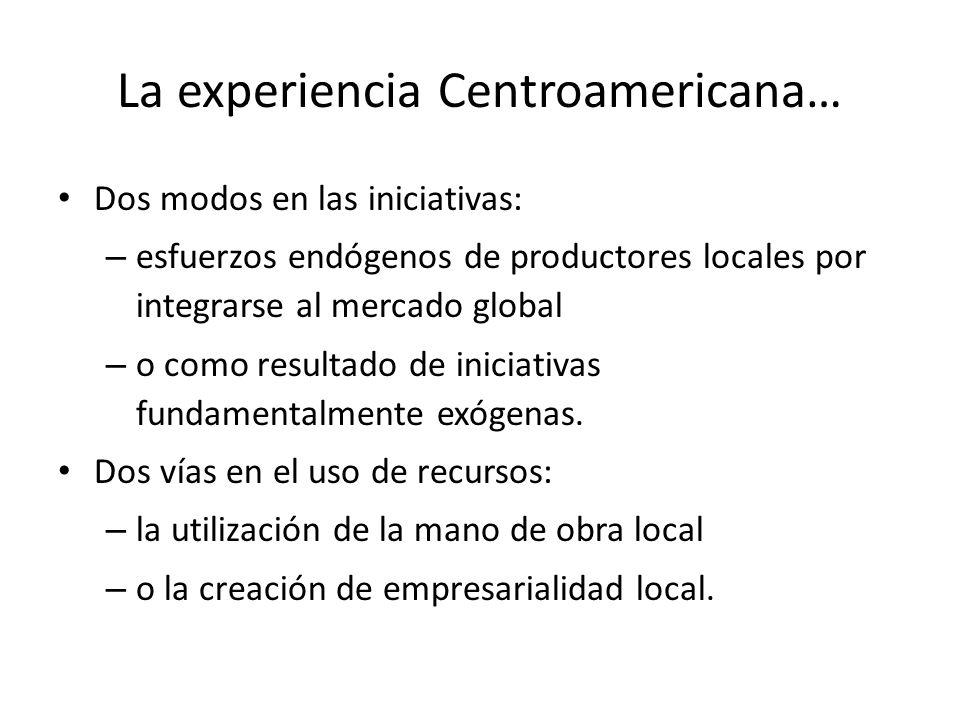 La experiencia Centroamericana… Dos modos en las iniciativas: – esfuerzos endógenos de productores locales por integrarse al mercado global – o como r