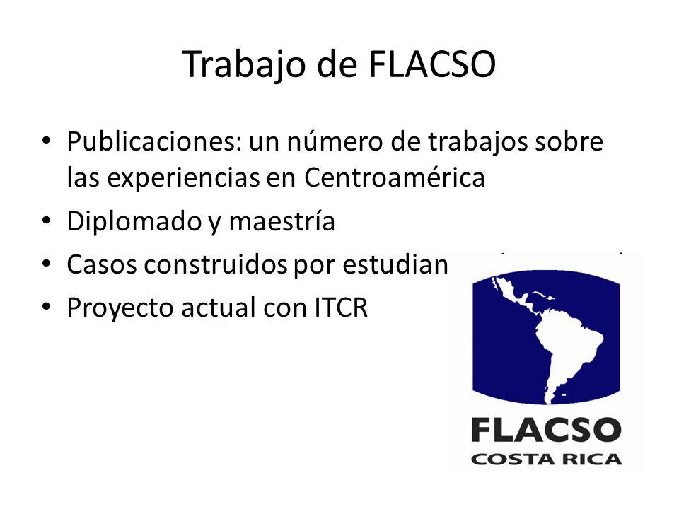 Trabajo de FLACSO Publicaciones: un número de trabajos sobre las experiencias en Centroamérica Diplomado y maestría Casos construidos por estudiantes