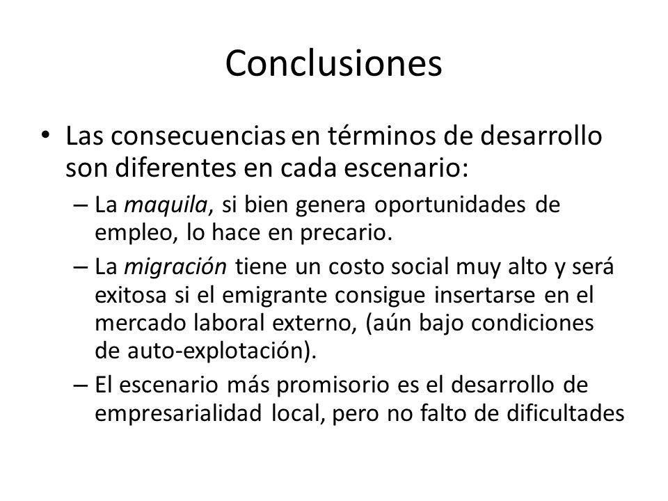 Conclusiones Las consecuencias en términos de desarrollo son diferentes en cada escenario: – La maquila, si bien genera oportunidades de empleo, lo ha