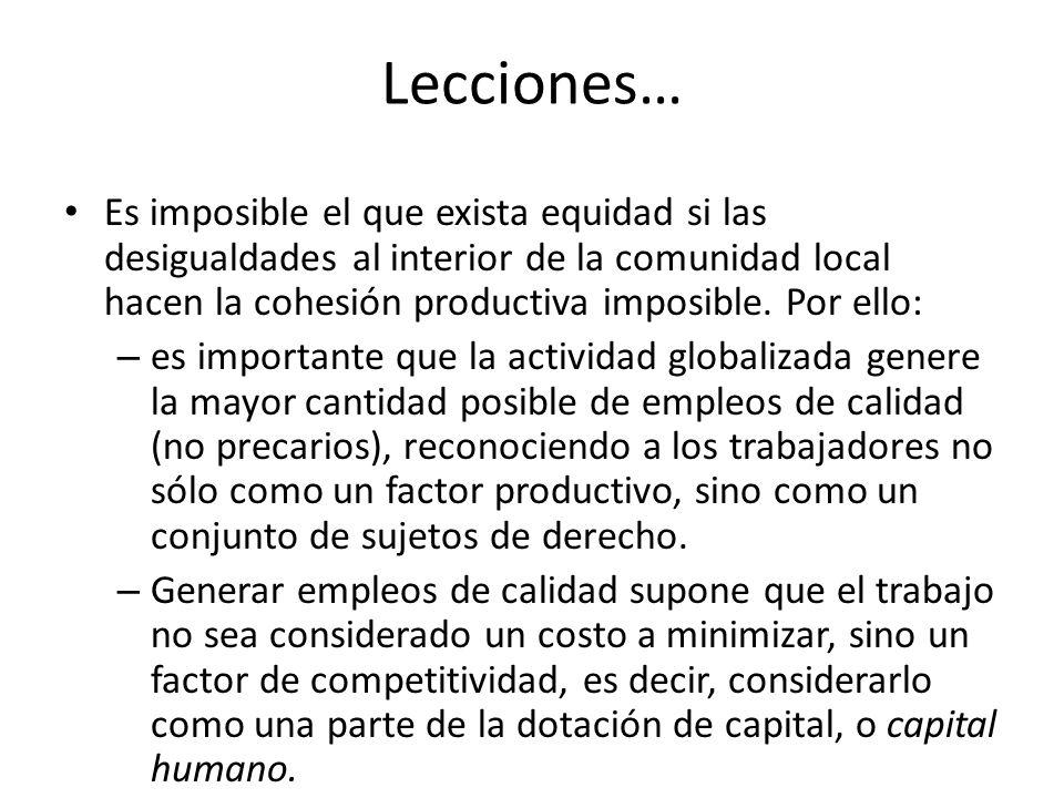 Lecciones… Es imposible el que exista equidad si las desigualdades al interior de la comunidad local hacen la cohesión productiva imposible. Por ello: