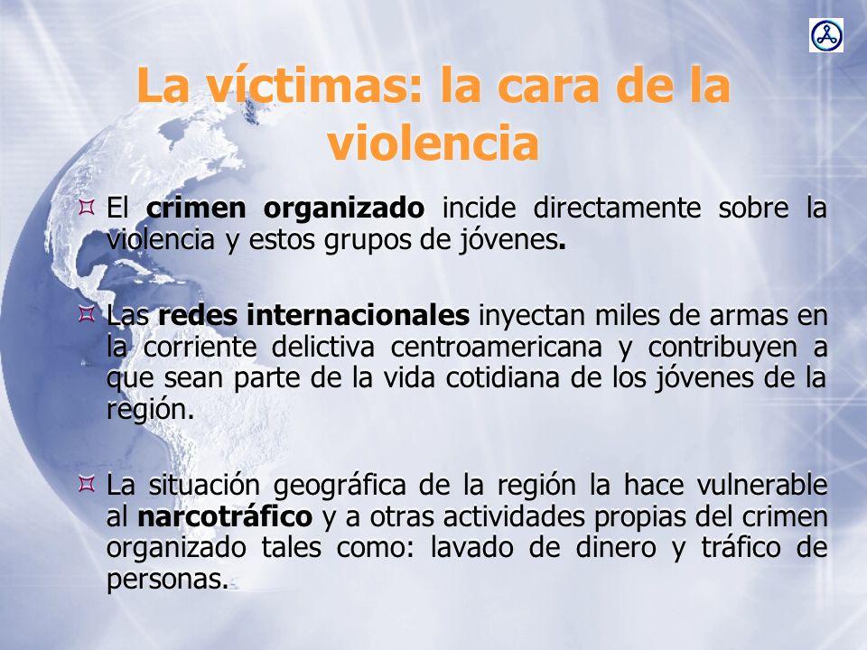 La víctimas: la cara de la violencia El crimen organizado incide directamente sobre la violencia y estos grupos de jóvenes. Las redes internacionales