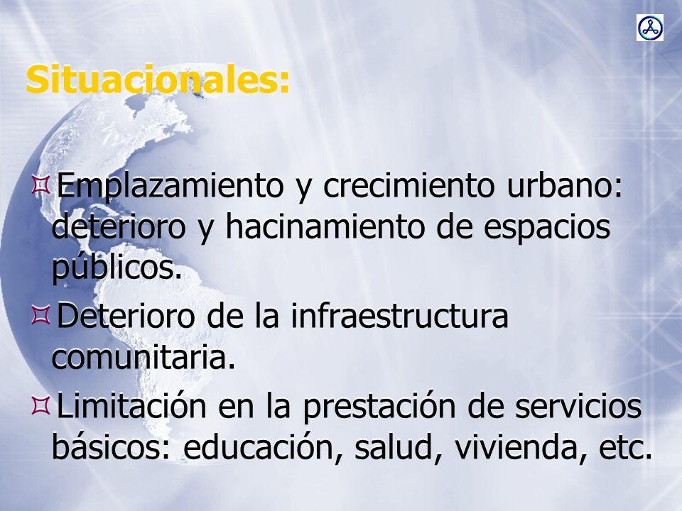 Situacionales: Emplazamiento y crecimiento urbano: deterioro y hacinamiento de espacios públicos. Deterioro de la infraestructura comunitaria. Limitac