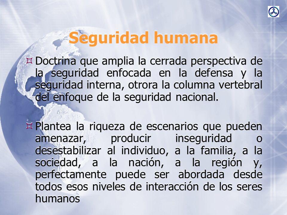 Seguridad humana Doctrina que amplia la cerrada perspectiva de la seguridad enfocada en la defensa y la seguridad interna, otrora la columna vertebral