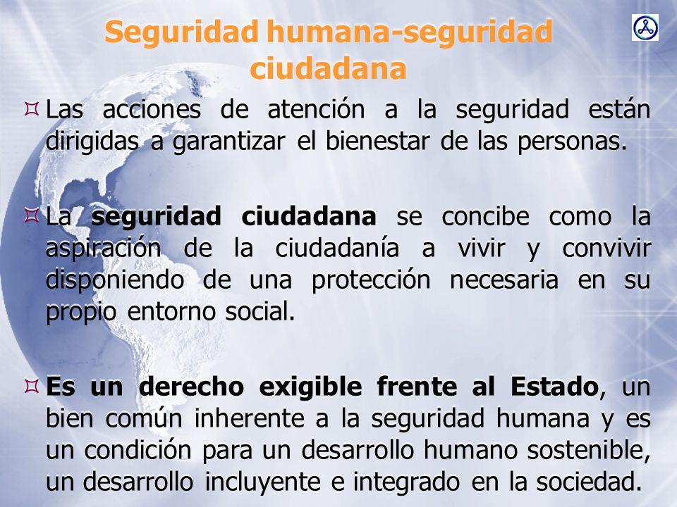 Seguridad humana-seguridad ciudadana Las acciones de atención a la seguridad están dirigidas a garantizar el bienestar de las personas. La seguridad c