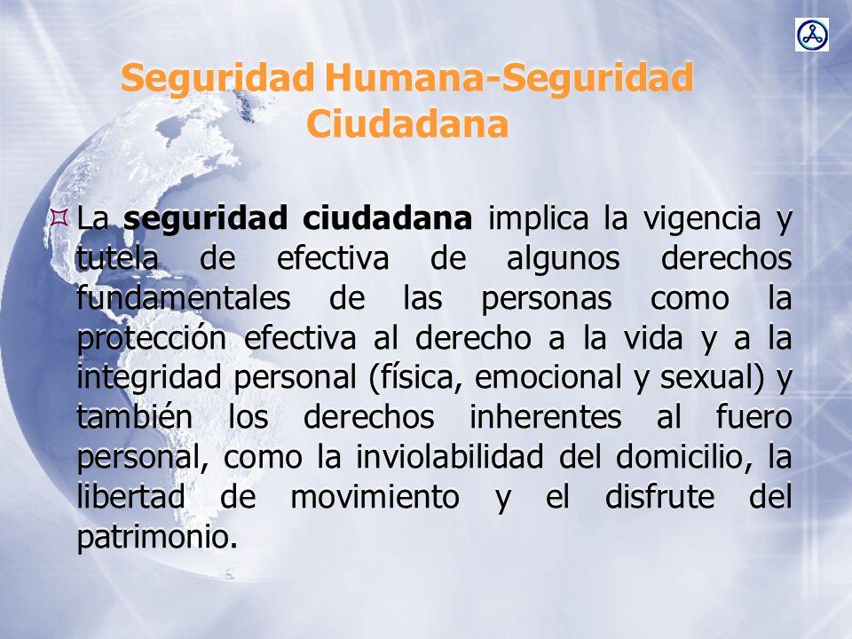 Seguridad Humana-Seguridad Ciudadana La seguridad ciudadana implica la vigencia y tutela de efectiva de algunos derechos fundamentales de las personas
