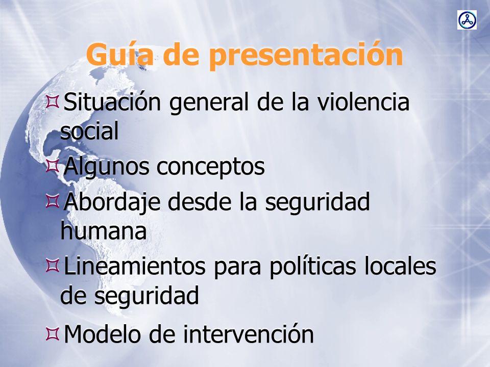 Guía de presentación Situación general de la violencia social Algunos conceptos Abordaje desde la seguridad humana Lineamientos para políticas locales