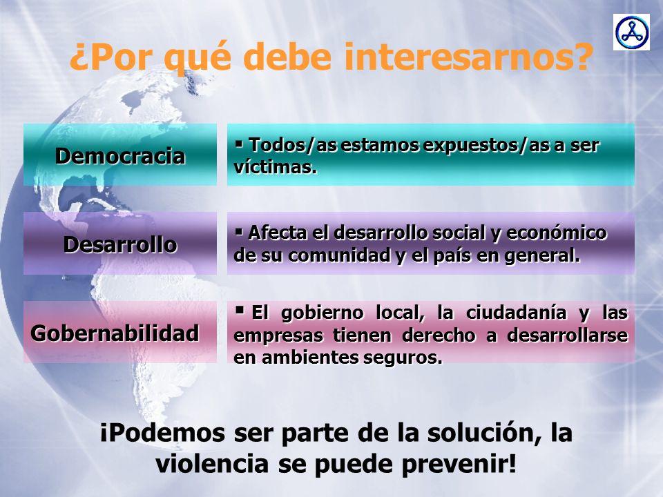 ¿Por qué debe interesarnos? Democracia Desarrollo Gobernabilidad ¡Podemos ser parte de la solución, la violencia se puede prevenir! Todos/as estamos e