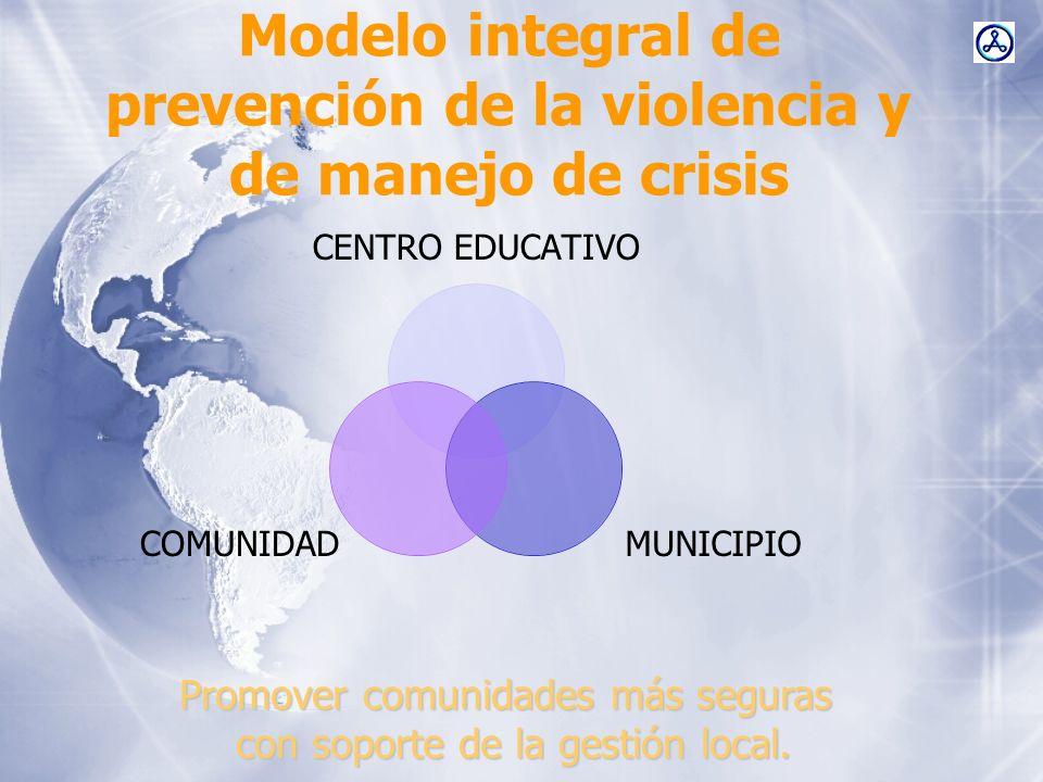 Modelo integral de prevención de la violencia y de manejo de crisis CENTRO EDUCATIVO MUNICIPIOCOMUNIDAD Promover comunidades más seguras con soporte d