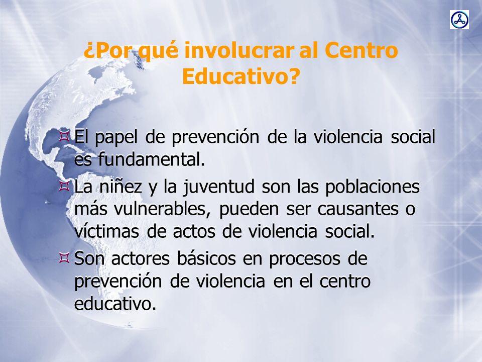 ¿Por qué involucrar al Centro Educativo? El papel de prevención de la violencia social es fundamental. La niñez y la juventud son las poblaciones más