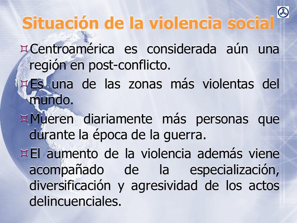 Situación de la violencia social Centroamérica es considerada aún una región en post-conflicto. Es una de las zonas más violentas del mundo. Mueren di