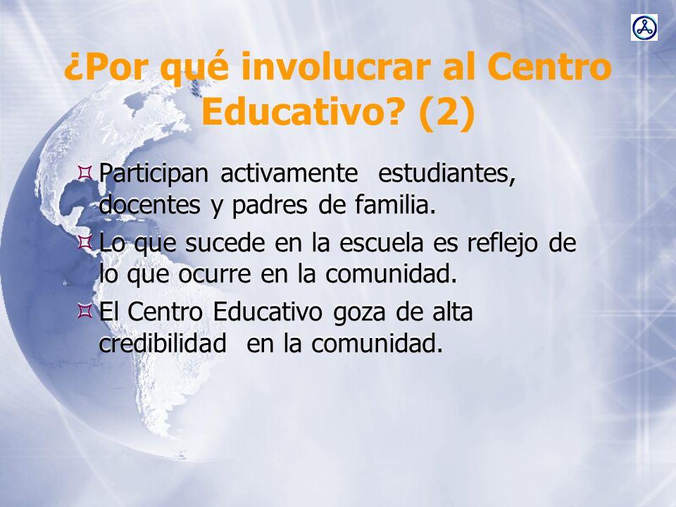 ¿Por qué involucrar al Centro Educativo? (2) Participan activamente estudiantes, docentes y padres de familia. Lo que sucede en la escuela es reflejo
