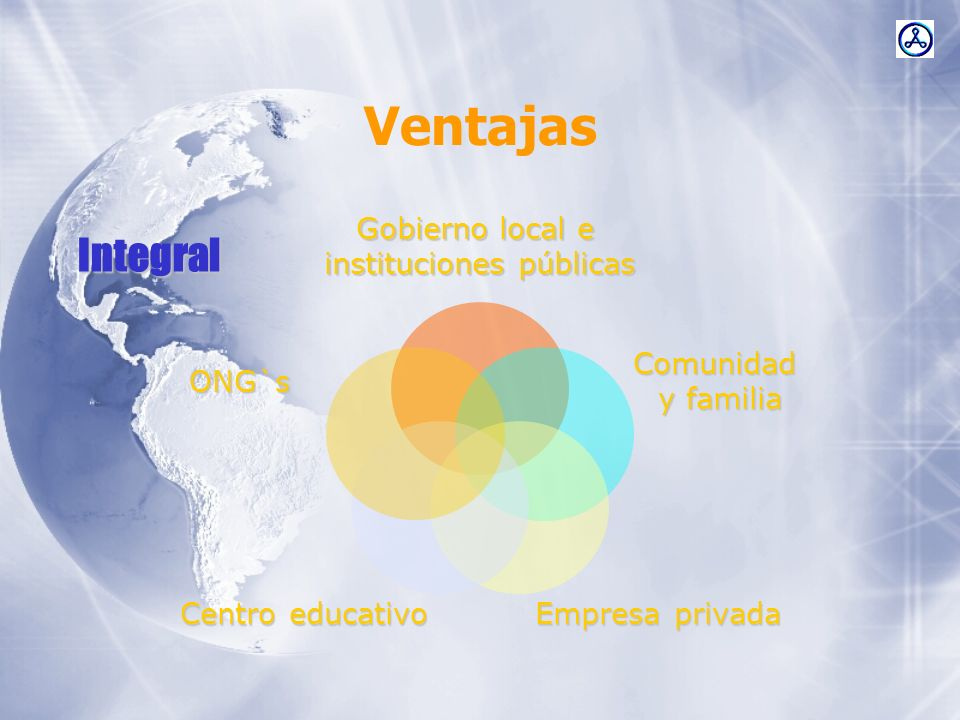 Ventajas Gobierno local e instituciones públicas Comunidad y familia Empresa privada Centro educativo ONG`sIntegral