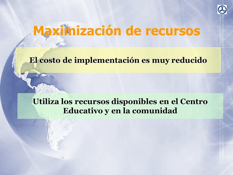 Maximización de recursos El costo de implementación es muy reducido Utiliza los recursos disponibles en el Centro Educativo y en la comunidad
