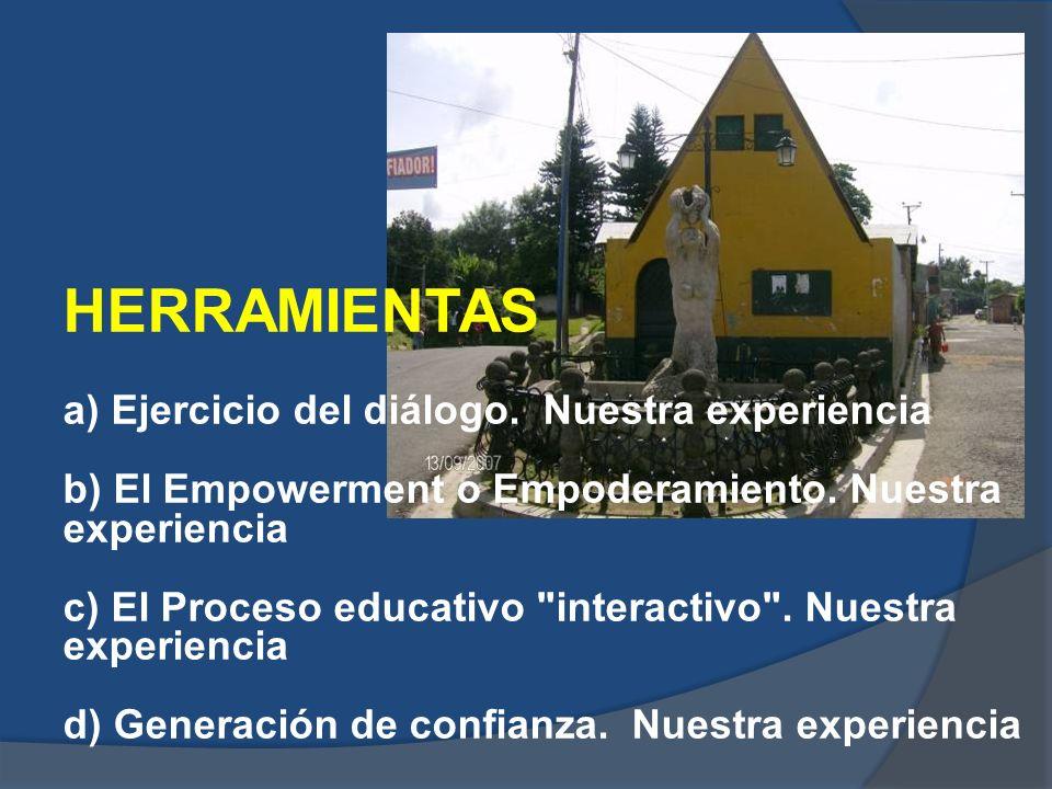 a) Ejercicio del diálogo. Nuestra experiencia b) El Empowerment o Empoderamiento. Nuestra experiencia c) El Proceso educativo