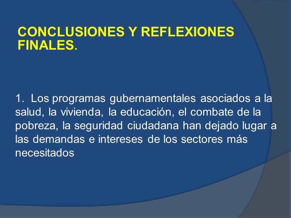 CONCLUSIONES Y REFLEXIONES FINALES. 1. Los programas gubernamentales asociados a la salud, la vivienda, la educación, el combate de la pobreza, la seg