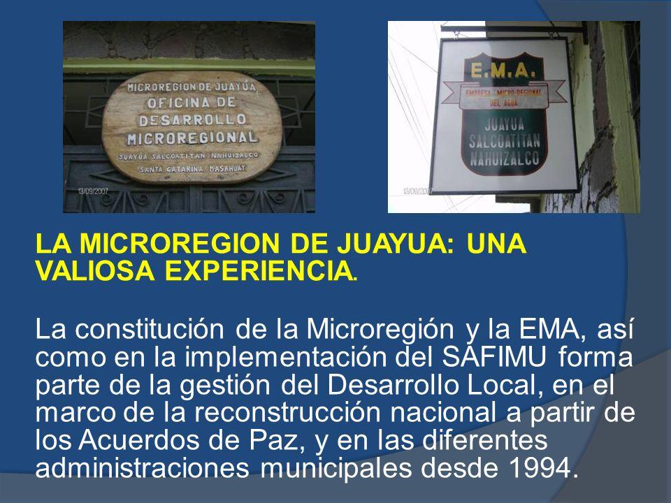 LA MICROREGION DE JUAYUA: UNA VALIOSA EXPERIENCIA. La constitución de la Microregión y la EMA, así como en la implementación del SAFIMU forma parte de
