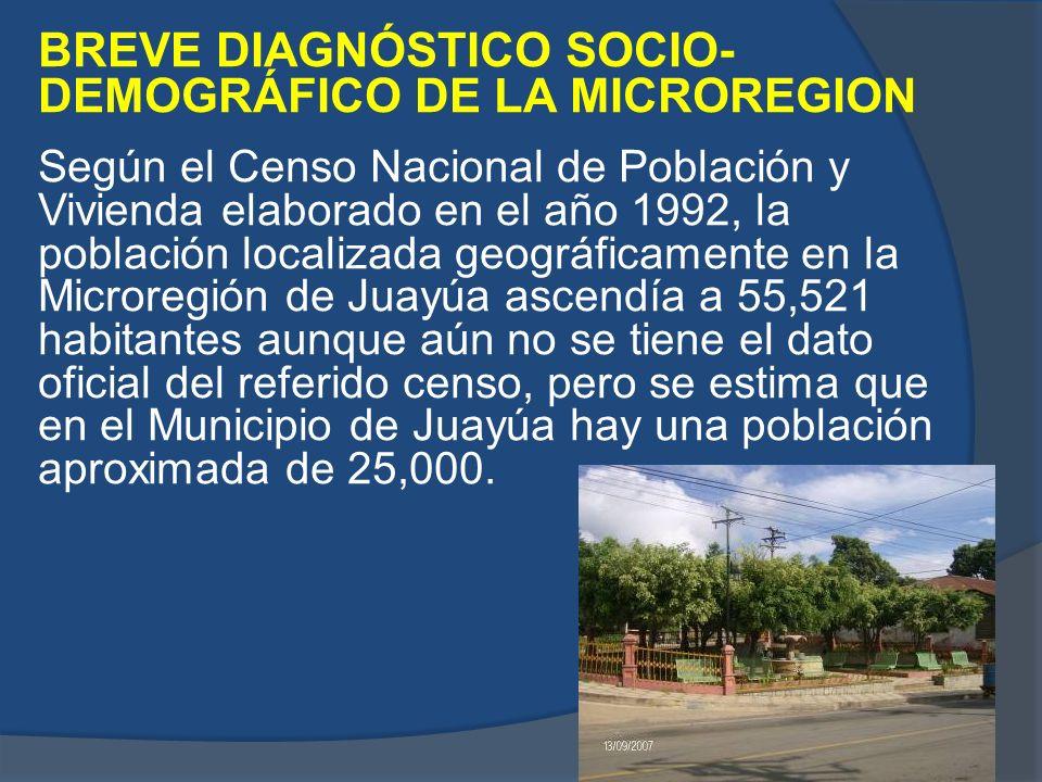 BREVE DIAGNÓSTICO SOCIO- DEMOGRÁFICO DE LA MICROREGION Según el Censo Nacional de Población y Vivienda elaborado en el año 1992, la población localiza