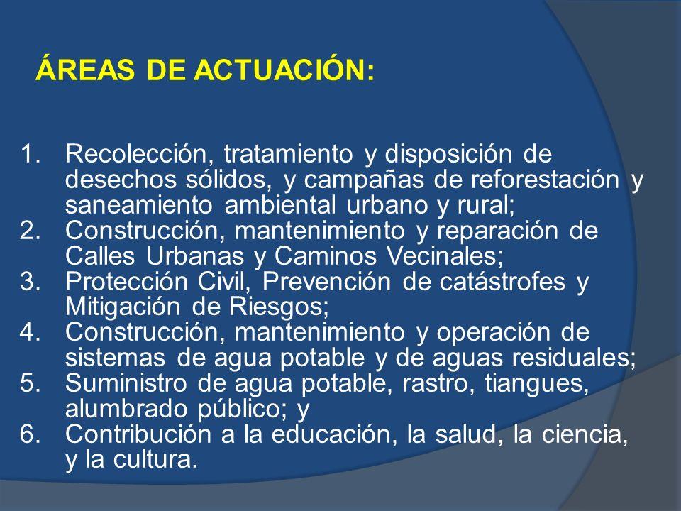 ÁREAS DE ACTUACIÓN: 1.Recolección, tratamiento y disposición de desechos sólidos, y campañas de reforestación y saneamiento ambiental urbano y rural;