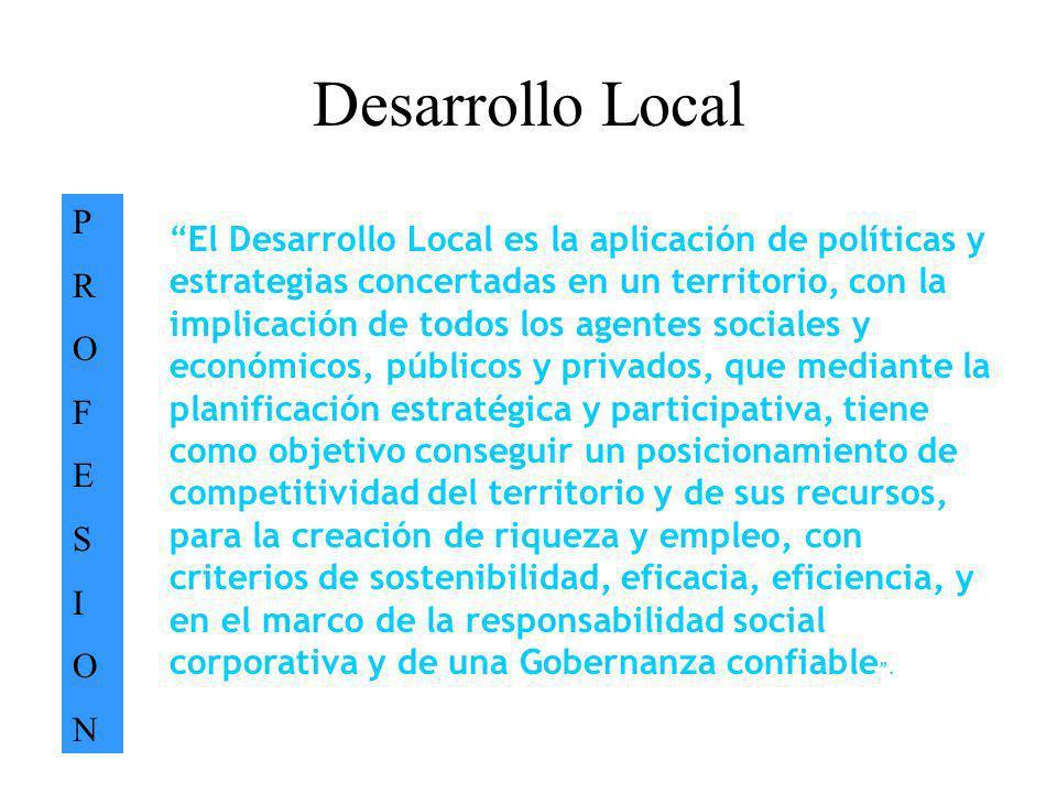 Desarrollo Local PROFESIONPROFESION El Desarrollo Local es la aplicación de políticas y estrategias concertadas en un territorio, con la implicación d