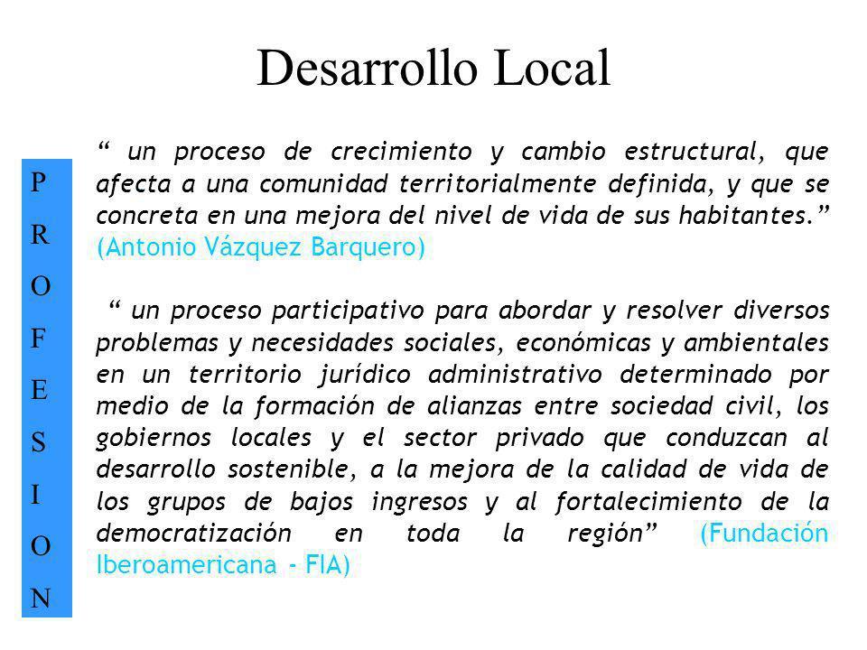 Desarrollo Local PROFESIONPROFESION. un proceso de crecimiento y cambio estructural, que afecta a una comunidad territorialmente definida, y que se co