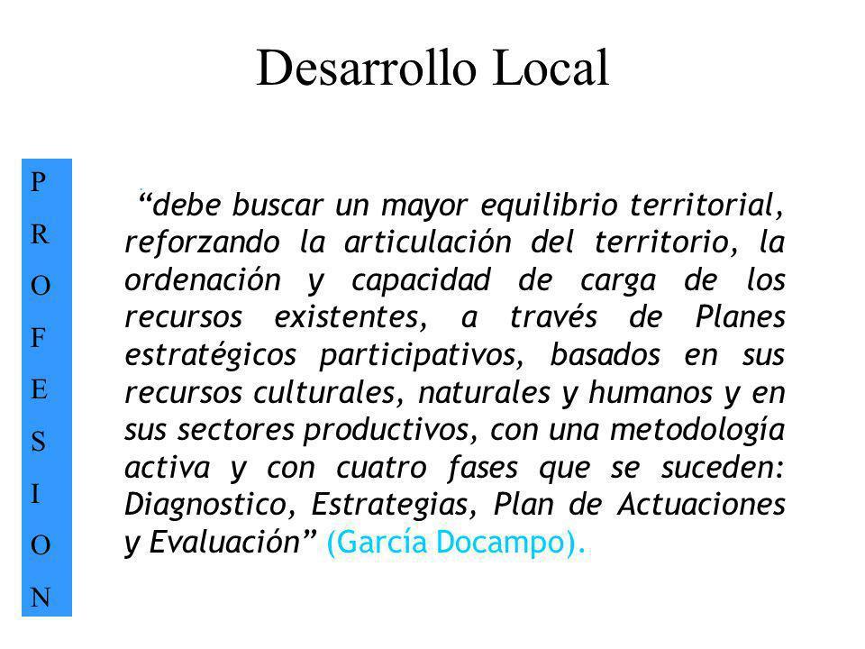 Desarrollo Local PROFESIONPROFESION. debe buscar un mayor equilibrio territorial, reforzando la articulación del territorio, la ordenación y capacidad