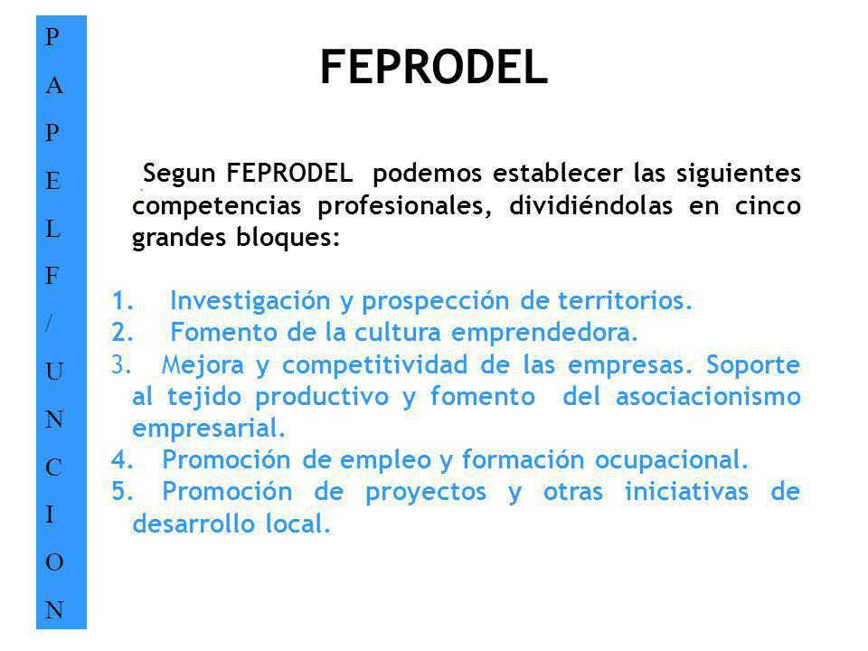 FEPRODEL PAPELF/UNCIONPAPELF/UNCION. Segun FEPRODEL podemos establecer las siguientes competencias profesionales, dividiéndolas en cinco grandes bloqu