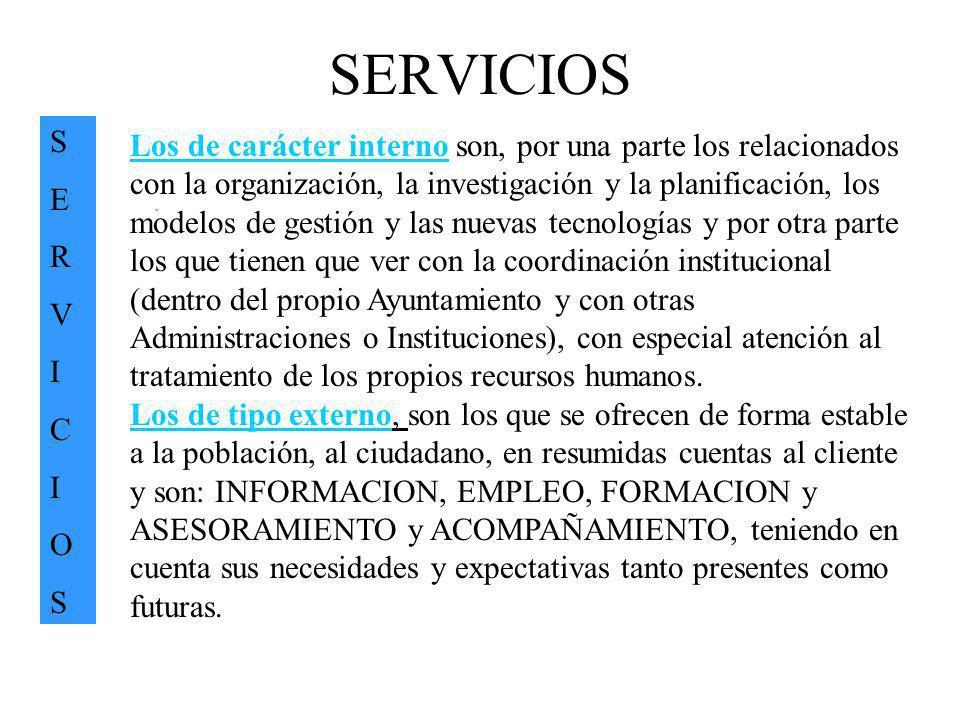 SERVICIOS SERVICIOSSERVICIOS. Los de carácter interno son, por una parte los relacionados con la organización, la investigación y la planificación, lo
