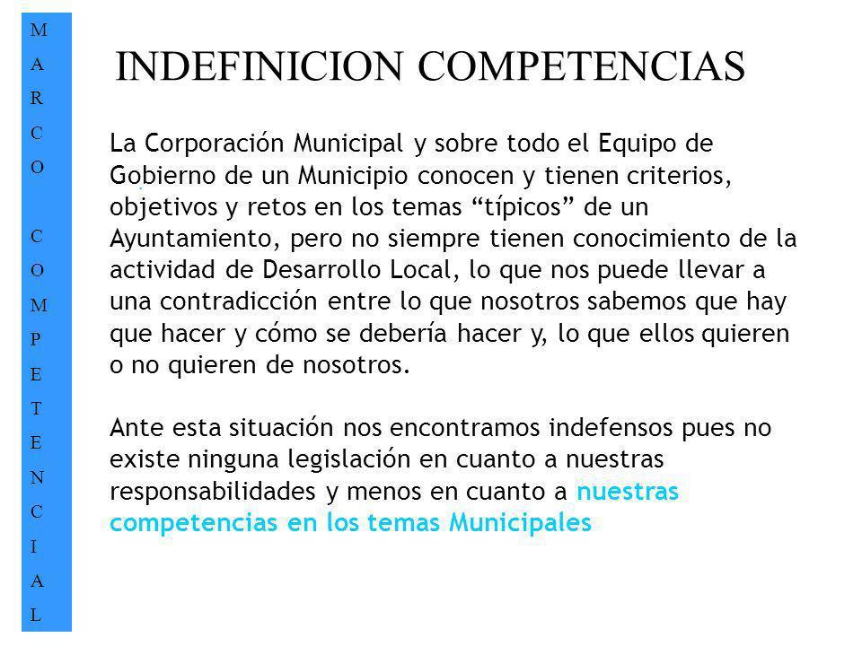 INDEFINICION COMPETENCIAS MARCOCOMPETENCIALMARCOCOMPETENCIAL. La Corporación Municipal y sobre todo el Equipo de Gobierno de un Municipio conocen y ti