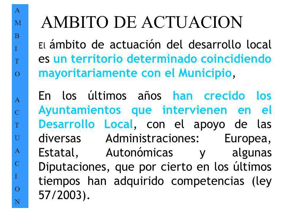 AMBITO DE ACTUACION AMBITOACTUACIONAMBITOACTUACION. El ámbito de actuación del desarrollo local es un territorio determinado coincidiendo mayoritariam