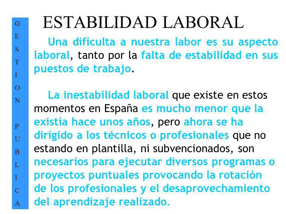 ESTABILIDAD LABORAL GESTIONPUBLICAGESTIONPUBLICA. Una dificulta a nuestra labor es su aspecto laboral, tanto por la falta de estabilidad en sus puesto