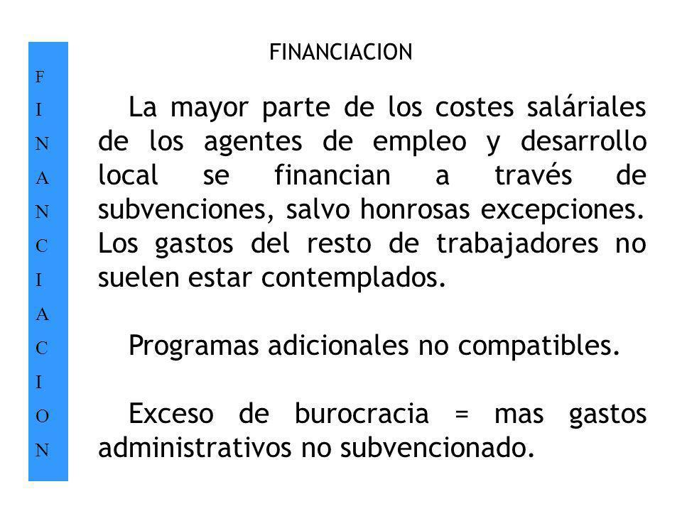 FINANCIACION FINANCIACIONFINANCIACION. La mayor parte de los costes saláriales de los agentes de empleo y desarrollo local se financian a través de su