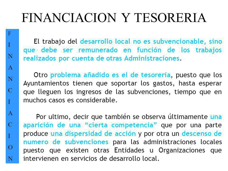 FINANCIACION Y TESORERIA FINANCIACIONFINANCIACION. El trabajo del desarrollo local no es subvencionable, sino que debe ser remunerado en función de lo