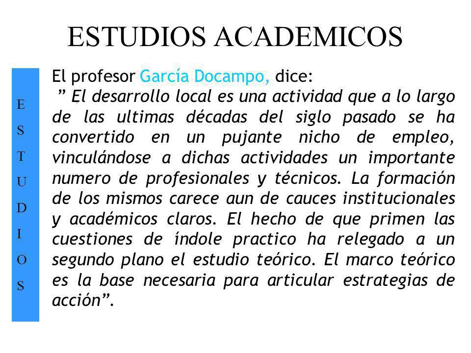 ESTUDIOS ACADEMICOS ESTUDIOSESTUDIOS. El profesor García Docampo, dice: El desarrollo local es una actividad que a lo largo de las ultimas décadas del