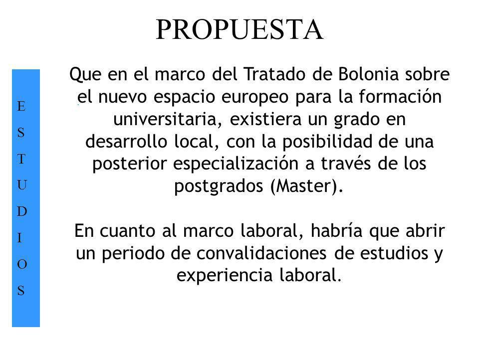 PROPUESTA ESTUDIOSESTUDIOS. Que en el marco del Tratado de Bolonia sobre el nuevo espacio europeo para la formación universitaria, existiera un grado