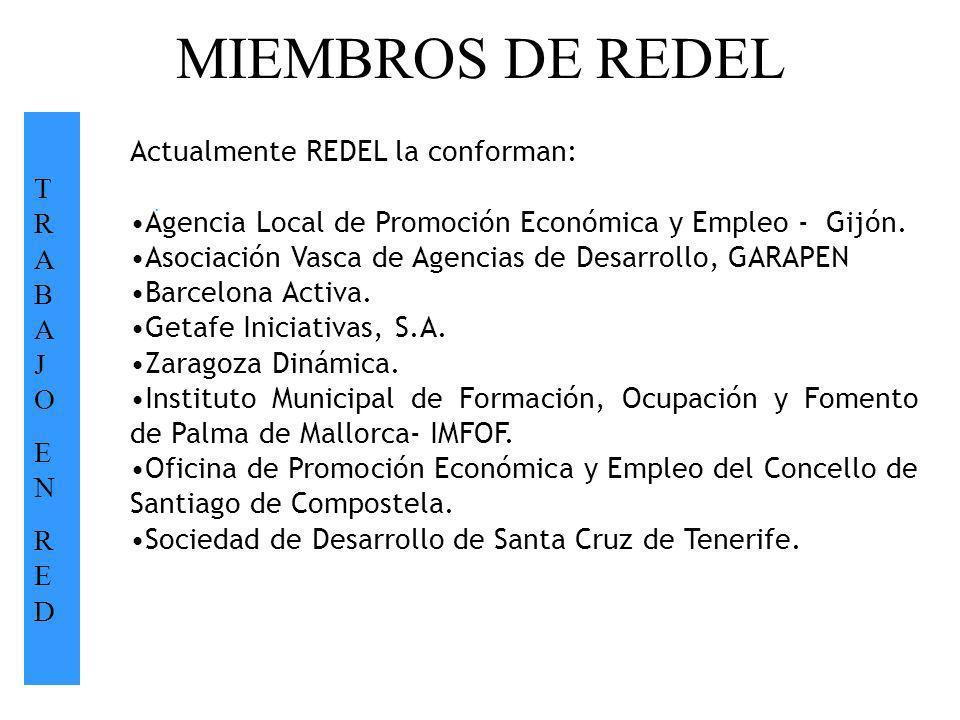 MIEMBROS DE REDEL TRABAJOENREDTRABAJOENRED. Actualmente REDEL la conforman: Agencia Local de Promoción Económica y Empleo - Gijón. Asociación Vasca de