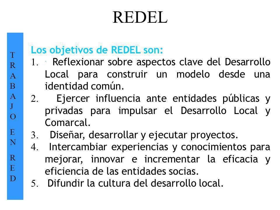 REDEL TRABAJOENREDTRABAJOENRED. Los objetivos de REDEL son: 1. Reflexionar sobre aspectos clave del Desarrollo Local para construir un modelo desde un