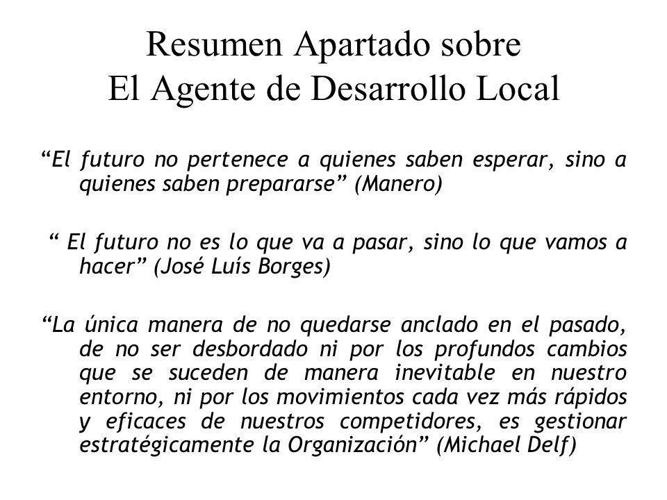 Resumen Apartado sobre El Agente de Desarrollo Local El futuro no pertenece a quienes saben esperar, sino a quienes saben prepararse (Manero) El futur