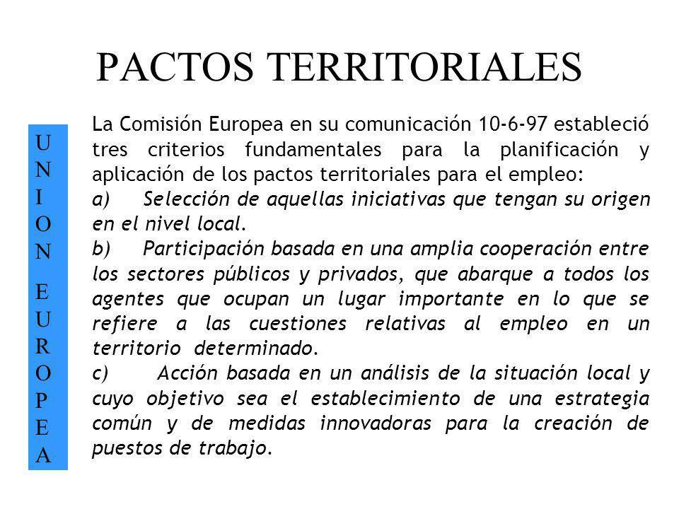 PACTOS TERRITORIALES UNIONEUROPEAUNIONEUROPEA La Comisión Europea en su comunicación 10-6-97 estableció tres criterios fundamentales para la planifica