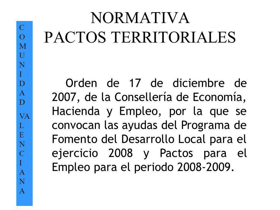 NORMATIVA PACTOS TERRITORIALES C O M U N I D A D VA L E N C I A N A Orden de 17 de diciembre de 2007, de la Consellería de Economía, Hacienda y Empleo