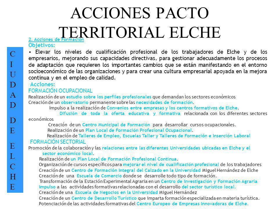 ACCIONES PACTO TERRITORIAL ELCHE CIUDADDEELCHECIUDADDEELCHE 2. Acciones de Formación Objetivos: Elevar los niveles de cualificación profesional de los